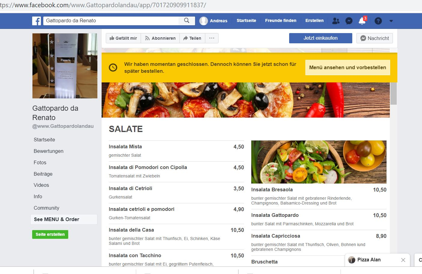 Facebook Essensbestellsystem Integration
